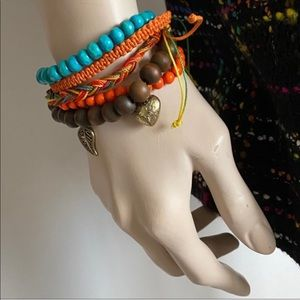 5Lot Layering Bracelet Bundle Turquoise Orange NEW